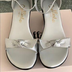 Silver Embossed Sandal. Size 8M. Brand new in box.